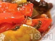 Задушени зеленчуци с доматено пюре